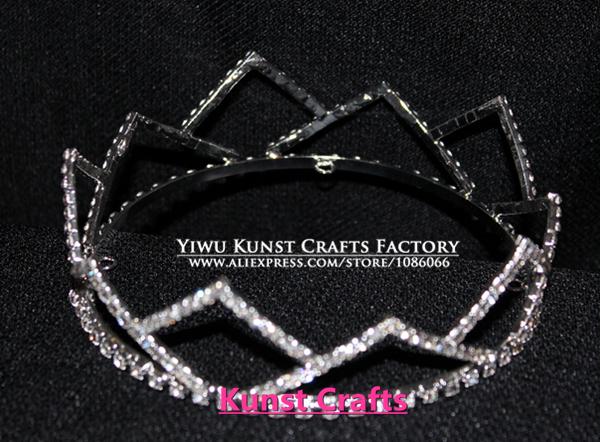 4.5 inches diameter Round Crowns Silver Rhinestones BOY PAGEANT Crown Tiara HG253(China (Mainland))