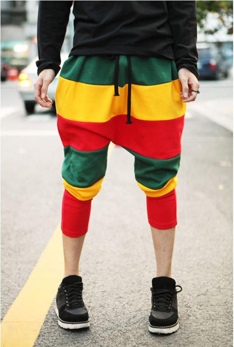 2015 Fashion Spring Summer Autumn Women Casual Colorful Stripes Patchwork Full Length Haren Pants Jazz Hip-Hop Sport Pants(China (Mainland))