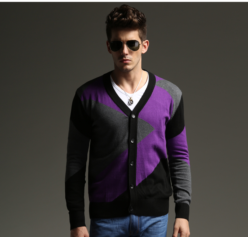 2014 new high quality fashion men's sweater V neck cardigans sweater outdoor thick coat Purple and grey S071303(China (Mainland))