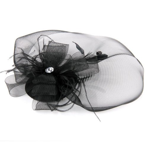 NEW FREE SHIPPING Black Feather Veil Hair Clip Mini Top Hat Party Cosplay(China (Mainland))