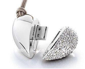 Free shipping Heart jewelry USB Flash Drive 2GB/4GB/8GB Crastal  usb flash memory  100% Real Capacity + free gift box