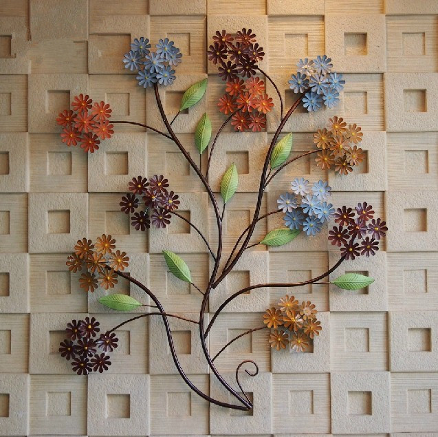 Modern home decoration creative 3d metal wall art hand made colorful flowers as wall decor and - Coupon home decorators decoration ...