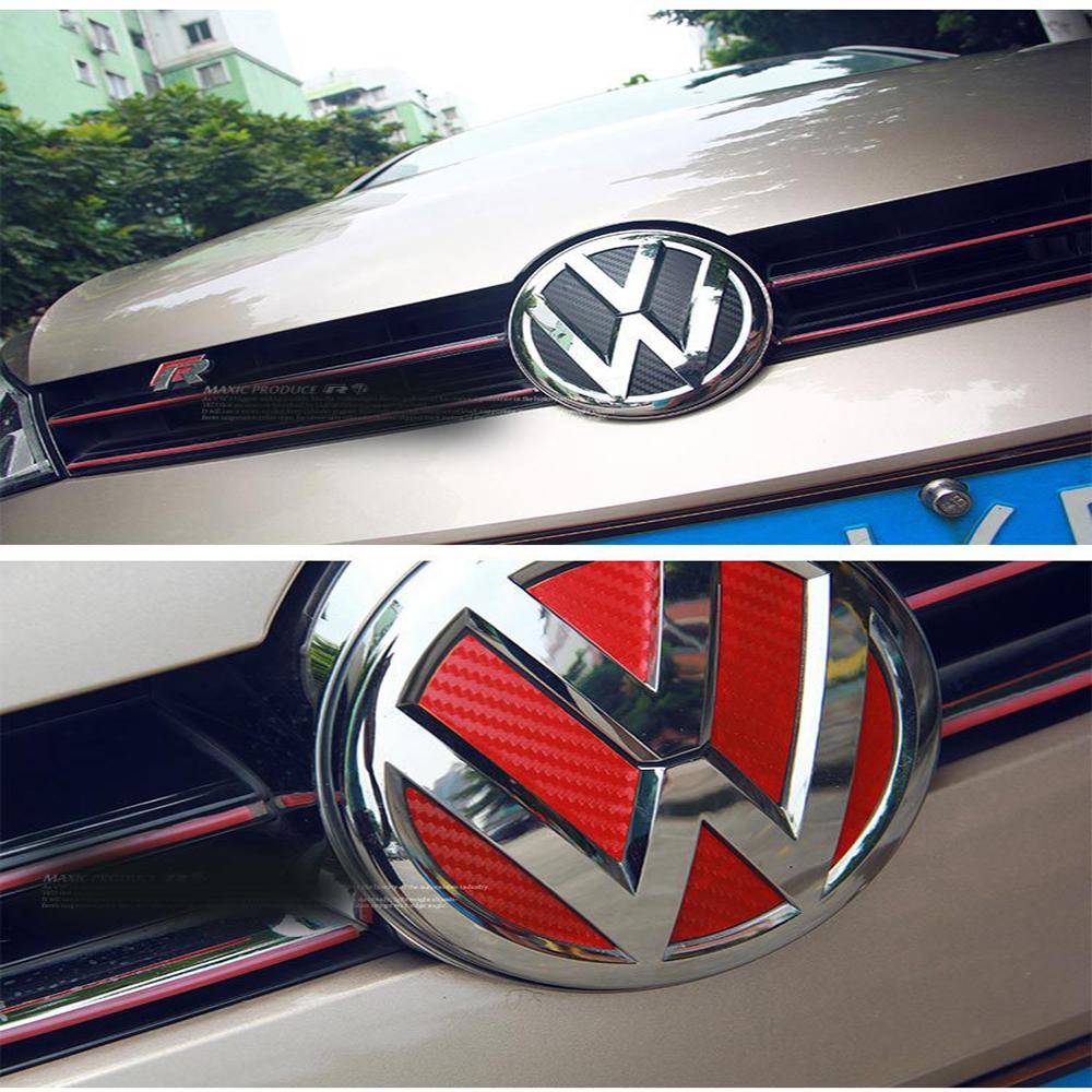 Car Decoration VW Carbon Fiber Vinyl Logo Sticker For 2014-2015 Volkswagen Golf 7(China (Mainland))