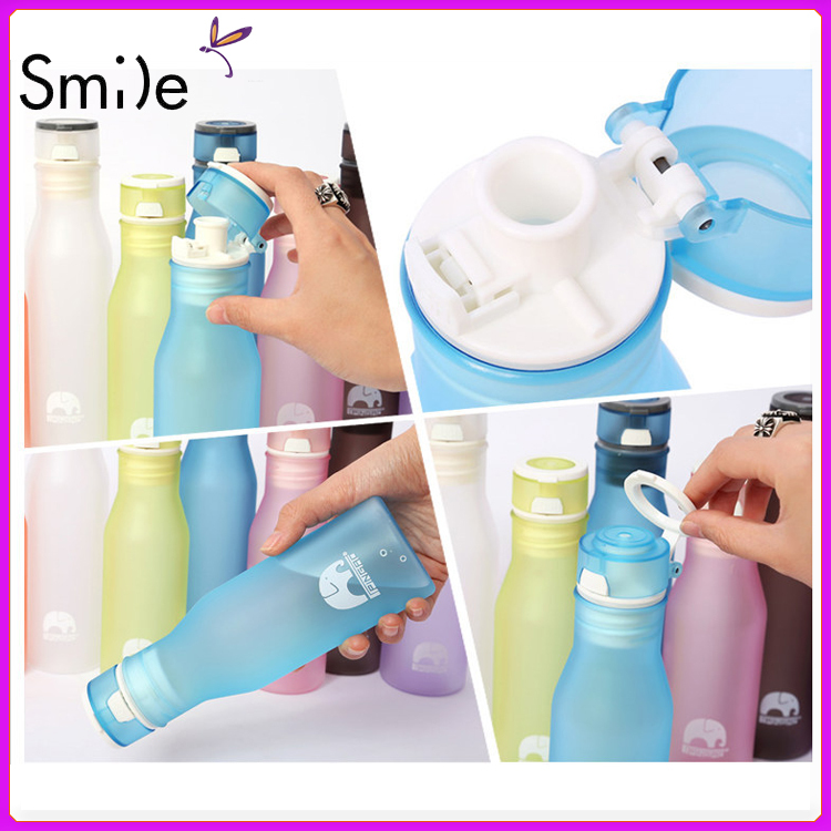 Portable Plastic Outdoor 300ml Mountain Sports Water Bottle cup seal cup Colorful frosted mug water bottles