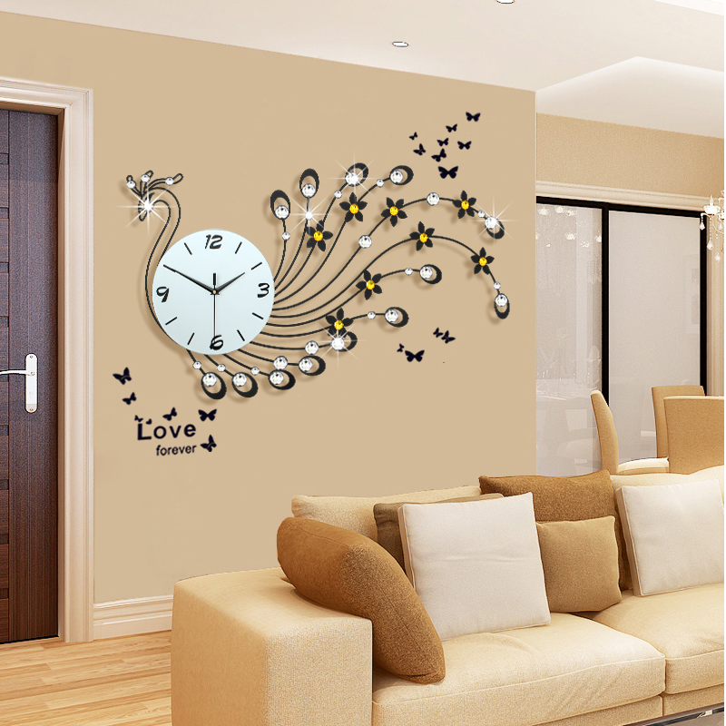 Large peacock wall clock modern design living room wall for Living room wall clocks
