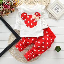 New fashion girls clothing sets minnie cotton children clothes bow tops t shirt leggings baby kids