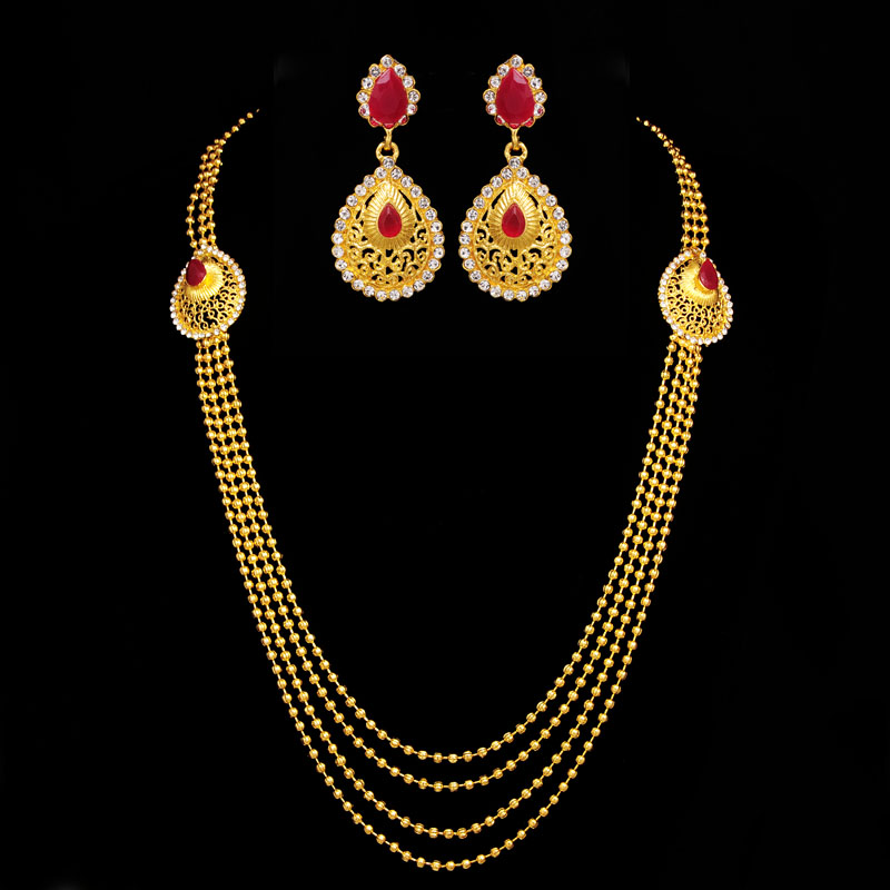 African Jewelry Sets 18K Gold Plated Ruby Water Drop Body Chain Necklaces Multilayer Beads Chain Tassel Maxi Statement Necklace(China (Mainland))