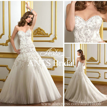 Off Shoulder Lace Bridal Dress Trumpet White Sweetheart Wedding New style ML438