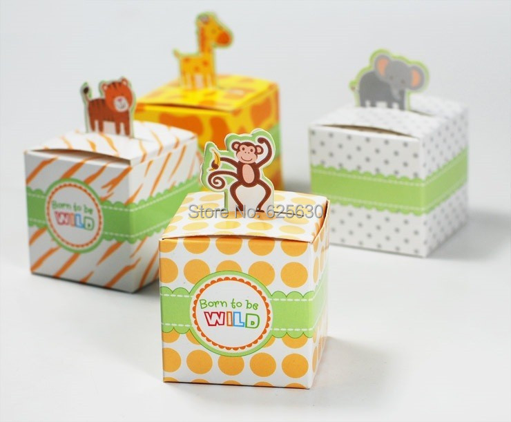 2016 5Giraffe/elephant/monkey/tiger animals Baby Shower favors,Birthday Party Boxes, Gift Boxes wedding chocolate box - Health & Life store