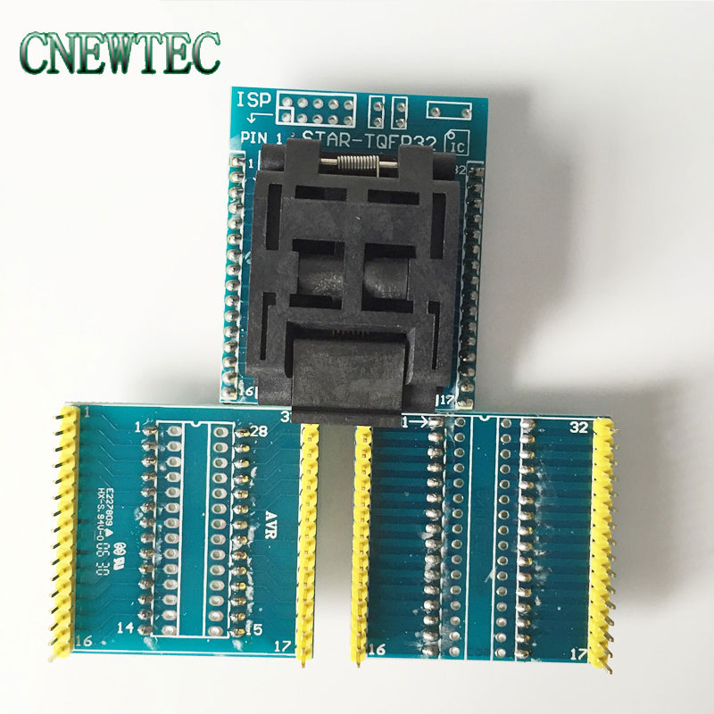 Free shipping Universal IC Adapter Socket LQFP TQFP QFP 32 to DIP 28 and TQFP32 to DIP32 IC Adapters for ATMEL AVR Chips(China (Mainland))