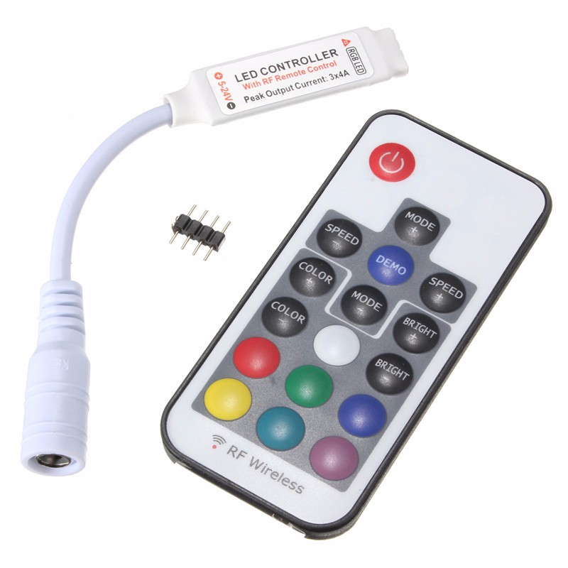 Top Quality Mini 17 Keys RF Wireless Remote Controller For RGB LED Strip Light DC5-24V 12A(China (Mainland))