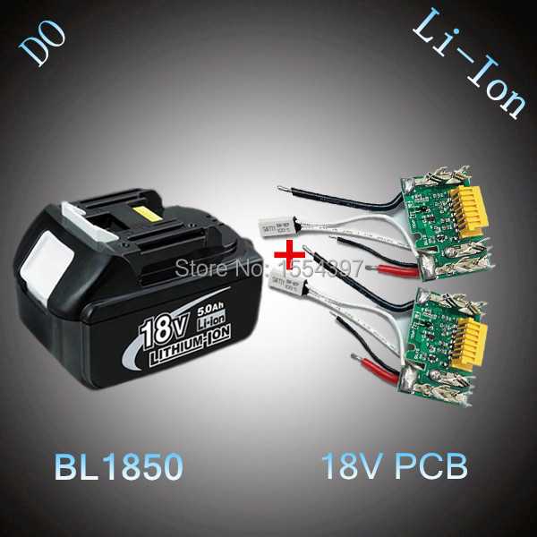 2 x PCB Circuit Board with 5000mAh Lithium Ion Replacement for Makita 18V BL1830 BL1850 Rechargeable Power Tool Battery LXT400(China (Mainland))