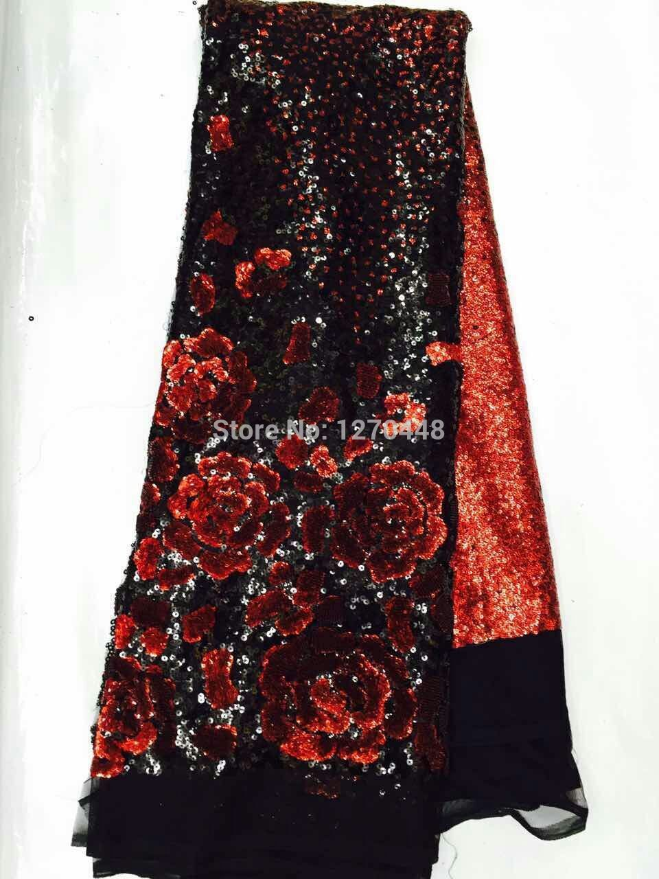 Summer black red high quality lace sequin embroidery