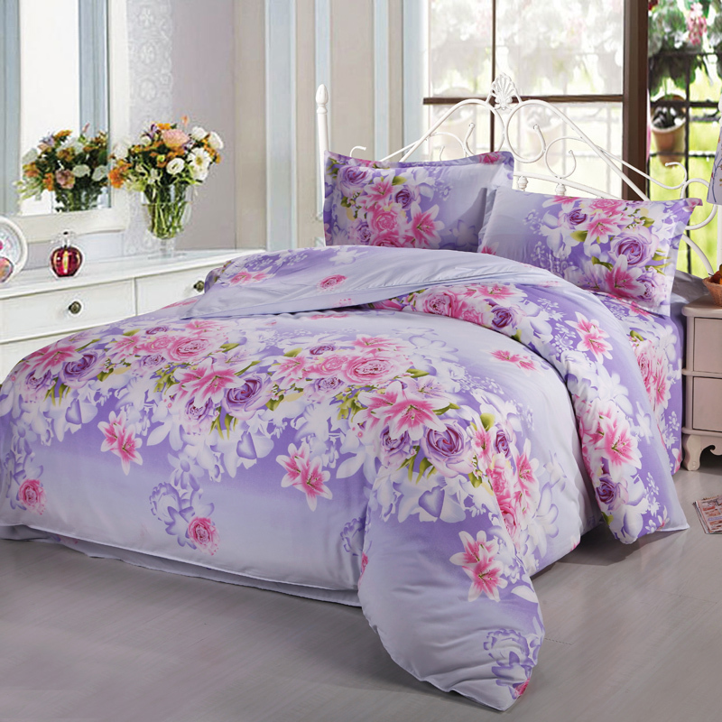 twin full queen cheap lavender pink white flowers floral lily roses 3 4pcs bedding set bedding. Black Bedroom Furniture Sets. Home Design Ideas