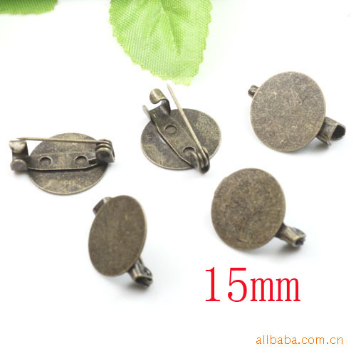 Wholesale 100piece Antique Bronze Brooch Blank Jewelry with 15mm Round Flat Pad for Epoxy Sticker or Cameo Cabochons(China (Mainland))