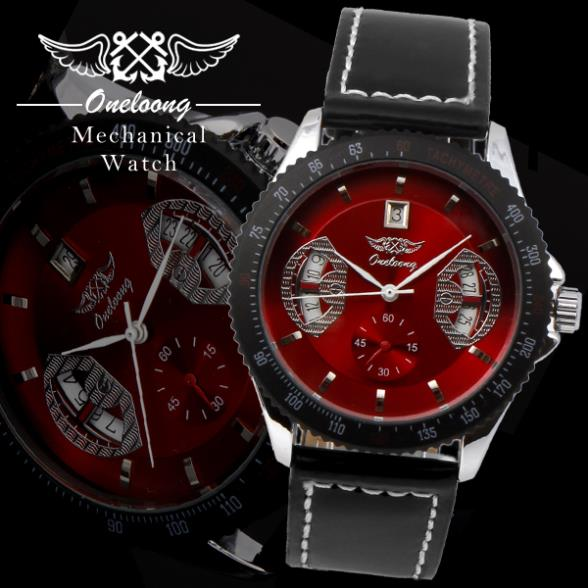 Winner Fashion Oneloong Luxury Brand Leather Strap Watches Automatic Self Wind Mechanical Watch Steel Case Men's Date - Cass store