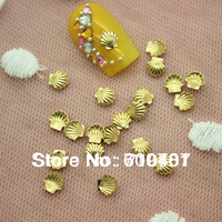 Hot Sale Free Shipping Wholesale/ Nail Supplier,100pcs 3D Glitter Gold Shell 5mm Decal DIY Tool Acrylic Gel Nail Design/Nail Art