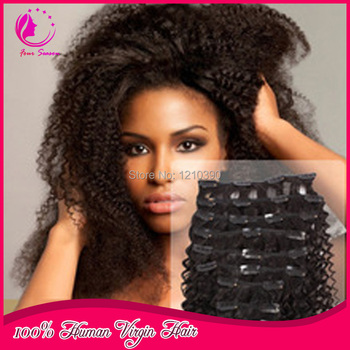 Afro kinky curly brazilian virgin hair clip in extensions 80g/100g/120g set natural color clip in hair extension for black women