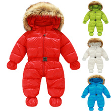Winter Down Romper Infantil Bebes Baby Snowsuit Thick Warm Jacket Baby Winter Clothes 100% White Duck Down Infant Outfits(China (Mainland))