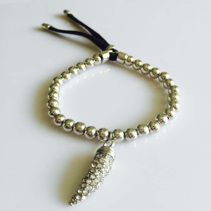 silver tone bead pave horn stretch bracelet silk cord 2 25