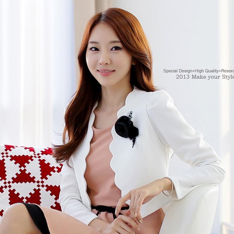 F~4XL New 2016 Spring Autumn Ladies OL Fashion Plus Size Elegant Bow Puff Sleeve Wave Cut Slim Short Jacket Coat Flower Epaulet(China (Mainland))