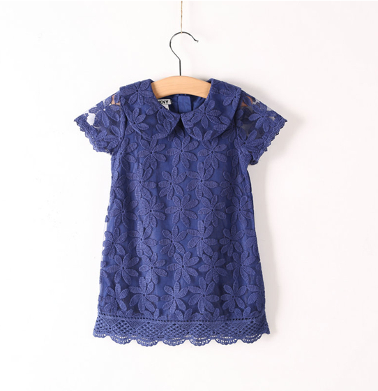 Guoqz1801 New 2014 Summer Baby Girl Lace Dress Turn-Down Collar Solid Short leeve Grils Dress Child Clothes Brand(China (Mainland))
