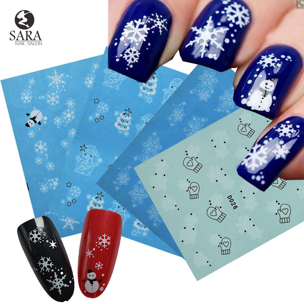 Sara Nail Salon 1PCS Snowflakes Christmas Style Water Nail Art Sticker Tips Decals Manicure DIY X'mas Stickers NJ185(China (Mainland))