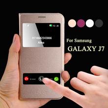 Мобильный телефон принципиально для samsung galaxy j7 чехол J700F крышка флип чехол кожа окно смарт призвание для галактики j7 чехол крышка