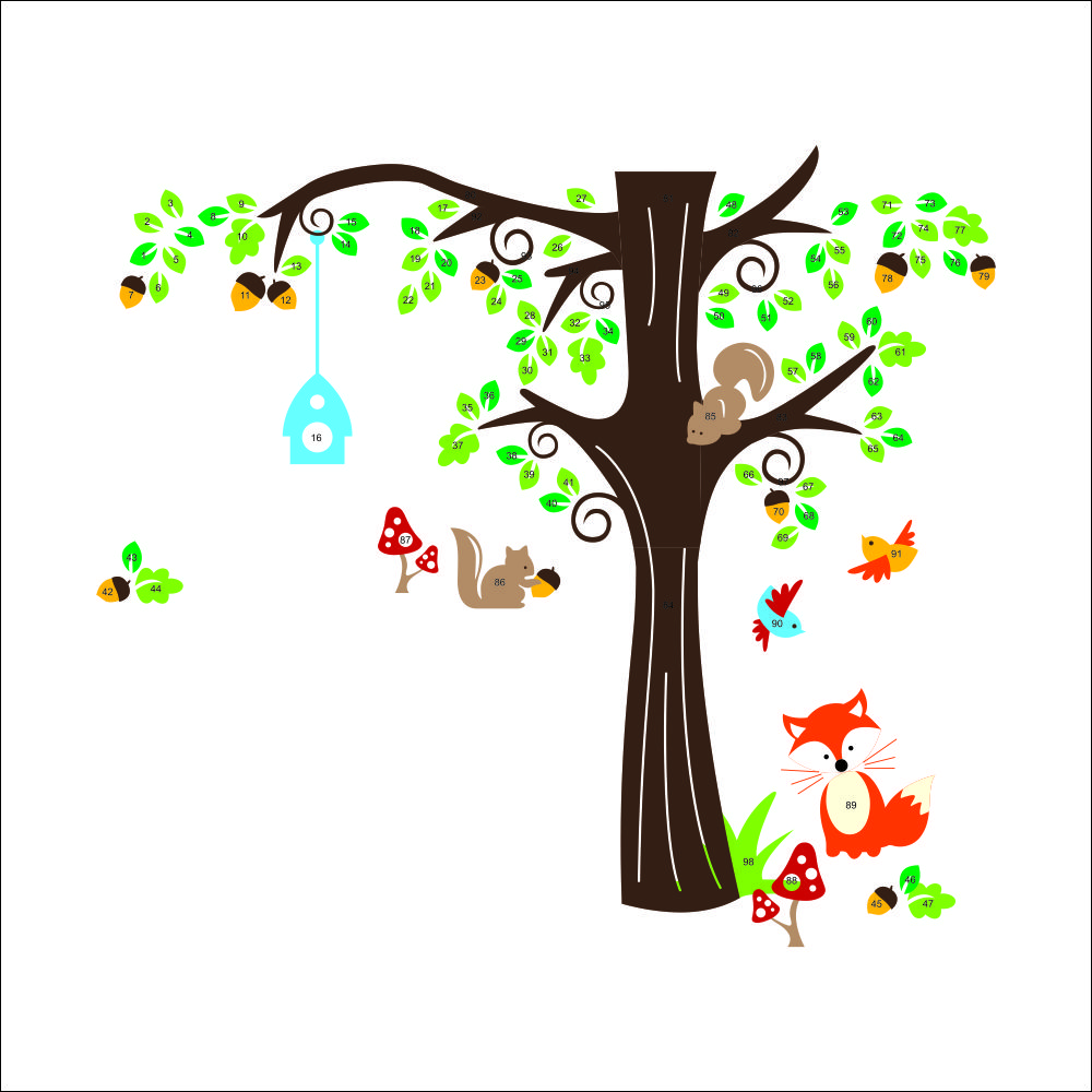 Tree Nursery Baby Boy Bedroom Wall Art Decor Kids Room Decoration Wall