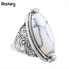 Buy Flower Tail Oval Stone Bead Rings Vintage Look Antique Silver Plated Personality 5 Colors Fashion Jewelry TR362 for $1.23 in AliExpress store
