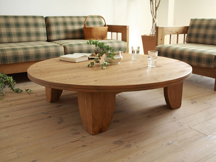 Solid pine wood table round 80cm natural painting asian for Low coffee table wood