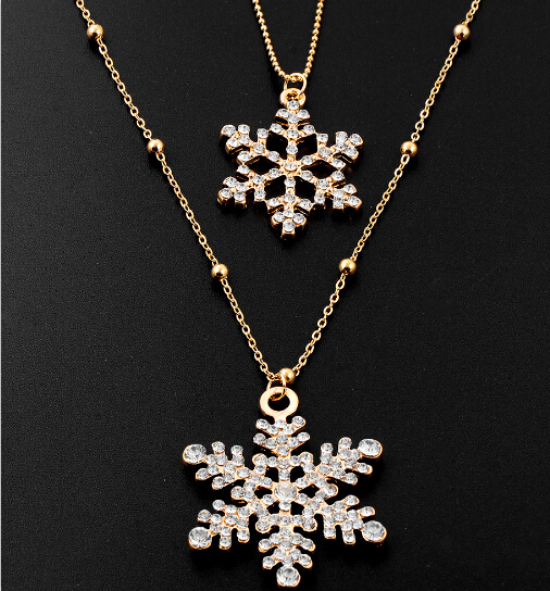 Golden Plated Double Chain Necklace For Women Special Snowflake Design Pendant Accessory Winter Sweater Necklace(China (Mainland))
