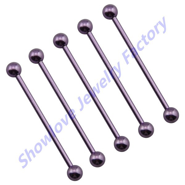 Free Shipping-Showlove 10pcs Ear Industrial Barbell Surgical Steel 14G Straight Barbell Tragus Ear Piercing Studs Rings(China (Mainland))
