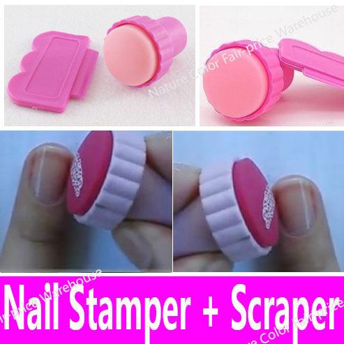 Nail Art Stamping Stamper Scraper Set Polish Nail Decoration Tool Kit for Kids Girls Women Soft Squishy Rubber Pad DIY Stencils(China (Mainland))