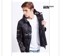 Мужской пуховик  Patchwork Parka Clothing Hoodie Brand Leather Winter Down Men Jacket  E11818