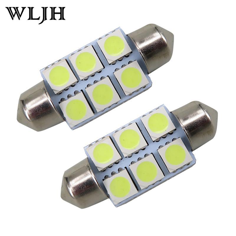 100cs Super White 36mm Festoon 5050 SMD 6 LED C5W Car Led Auto Interior Dome Door Light Lamp Bulb Pathway lighting 12V Work Lamp(China (Mainland))