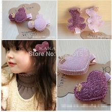 2pcs/set Baby Girls Hair Accessories Sequin Heart Bear Shiny Fabrics And Crown Hair Clip Kids Children Hairpin kk1104(China (Mainland))