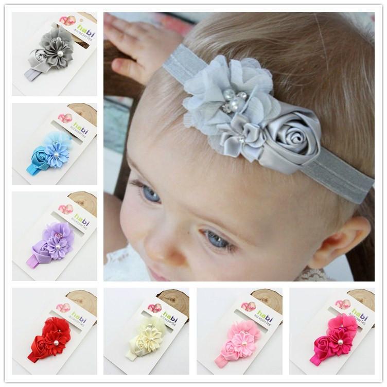baby flower headband chiffon rose flower children girls photo props girls hair head kids hair accessories(China (Mainland))