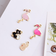 Buy 2017 Pink Flamingo Golden Metal Charm- 10pcs Charm Bracelet Gold Charms Planner Charm for $3.11 in AliExpress store