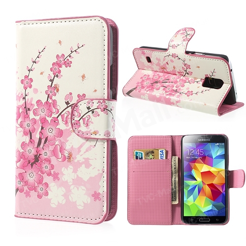 Pink Plum Flowers Wallet Card Leather Stand Cover Phone Case Accessory Samsung Galaxy S5 G900 I9600 - Yuanwang digital accessories store