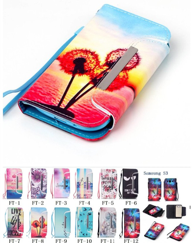 Vintage Colorful Pattern Apart Case for Samsung GALAXY S3 I9300 Leather Fashion Flip Wallet Cases for Galaxy S3 Funda Brand Capa(China (Mainland))