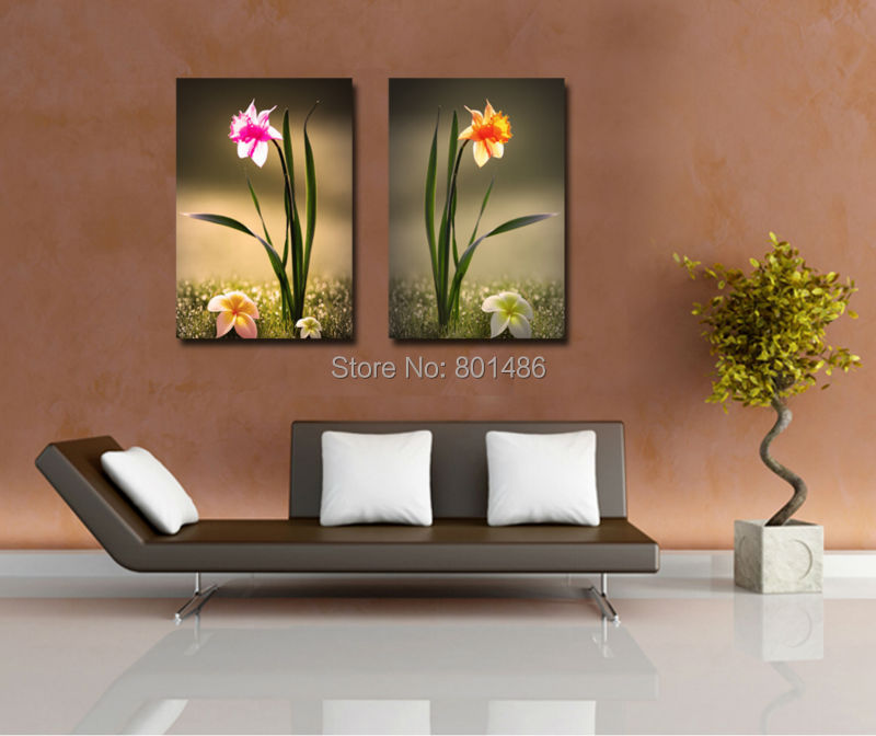 Factory Price -2 pieces/panles Narcissus flower pictures print on canvas for modern home decoration,free shipping(China (Mainland))