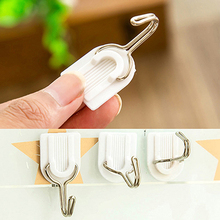 HOT 6Pcs Self Adhesive Bathroom Kitchen Wall Door Plastic Stainless Steel Holder Hook Hanger 91XS(China (Mainland))
