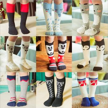1pair cute cartoon fox mickey bear duck fashion design baby boy girl kids knee high socks for boys girls child brand new 0-6Y