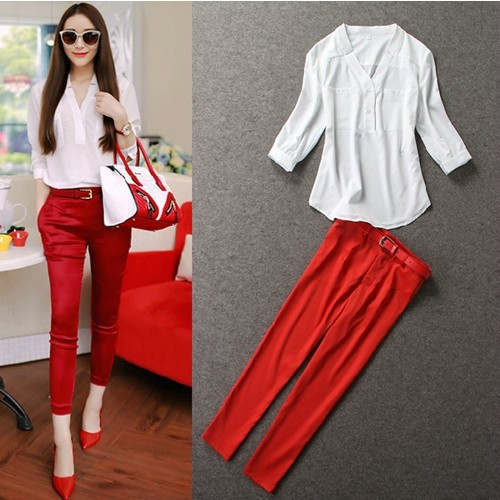 Online Buy Wholesale 2 piece black pants and black and red shirt ...