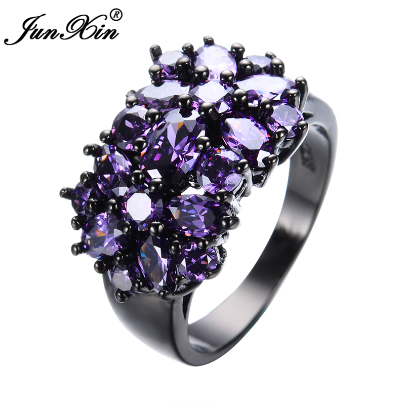 Elegant Purple Black Gold Filled CZ Ring Unique Design Vintage Party Wedding Rings For Women Christmas Fashion Jewelry RB0040(China (Mainland))