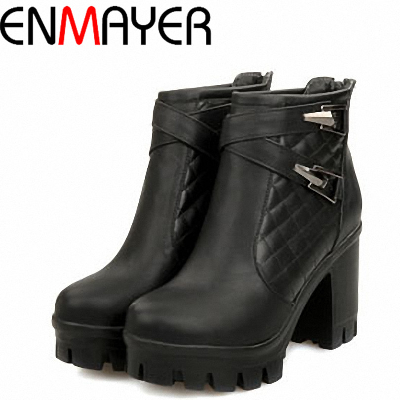 ENAYER NEW Arrivals Thick Heels Boots for Women Fashion Martin Boots Hot Sale Buckle Boots Punk Platform Boots(China (Mainland))