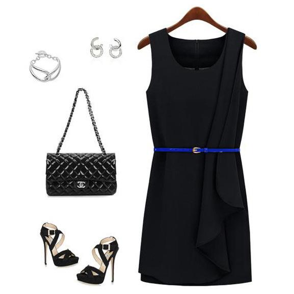 2013 women's fashion o-neck fashion brief mid waist sleeveless chiffon one-piece dress