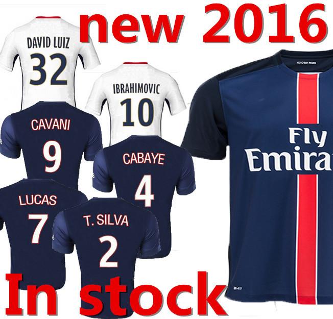 2015/2016 Ibrahimovic white black home blue jerseys Thailand quality regressed Ravitch kava Nixierwa latest soccer psG(China (Mainland))