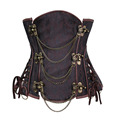 Steampunk Underbust Corset Gothic Spiral Steel Boned Double buckle with Chains Waist cincher Bustier Plus Size